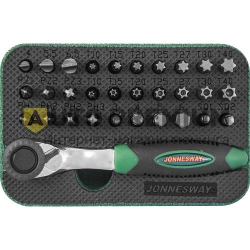 Набор вставок-бит с трещоточной рукояткой мини 1/4DR 60 зубцов, 32 предмета «Jonnesway»