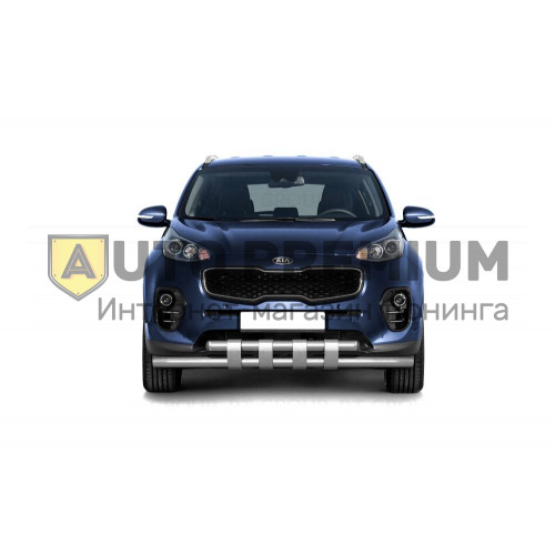 Защита переднего бампера двойная с пластинами Ø63/63мм (НПС) KIA Sportage 2016-